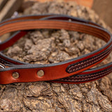 "3/4"" Two Tone Chocolate 4ft Leather Leash"