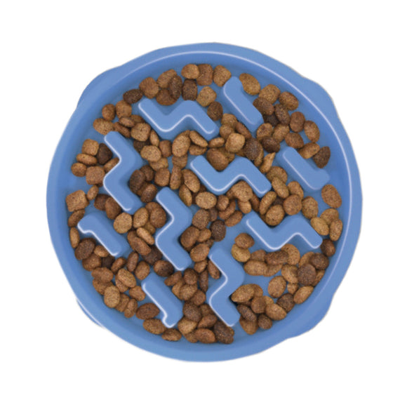 Outward Hound Fun Feeder Slo-Bowl - Blue Notches