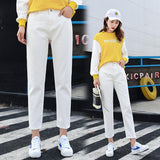 Women Hight Waist Jeans Harem Pants Jeans Female Solid Long Trousers Light Wash Plus Size Denim Pant