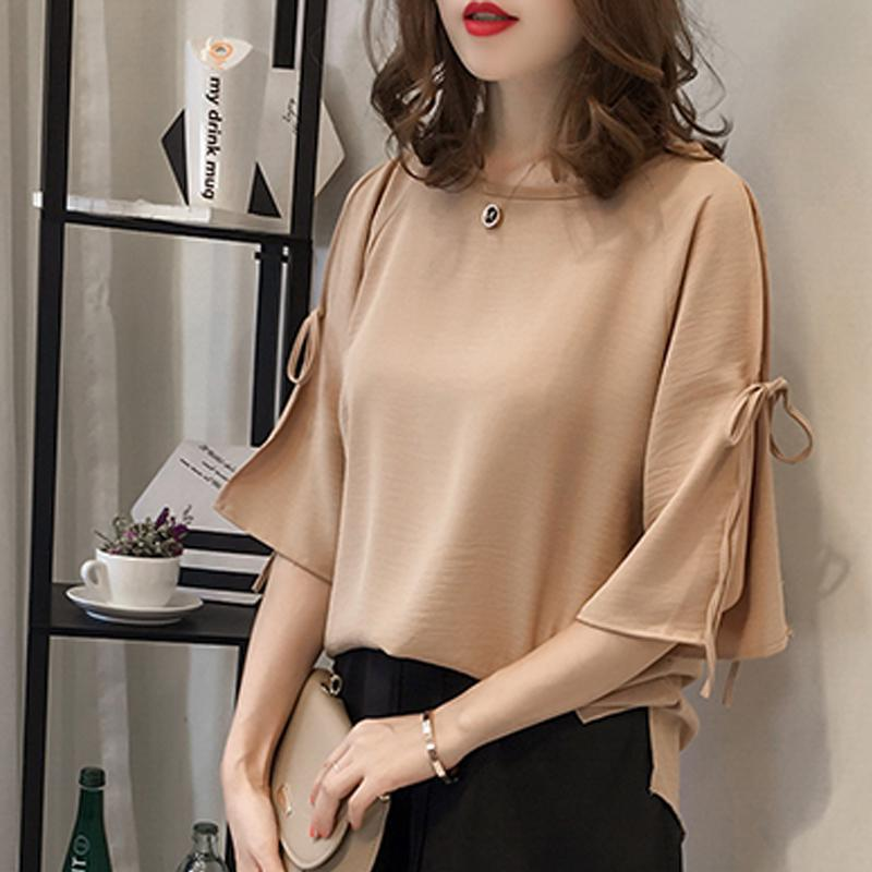 Summer Women Short Sleeve Chiffon Blouse Casual Tops Solid Color Shirt