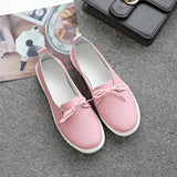 Spring Lovely Solid Women Shoes Genuine Leather Women Flats Shoes 4 Colors Single Boat Shoes