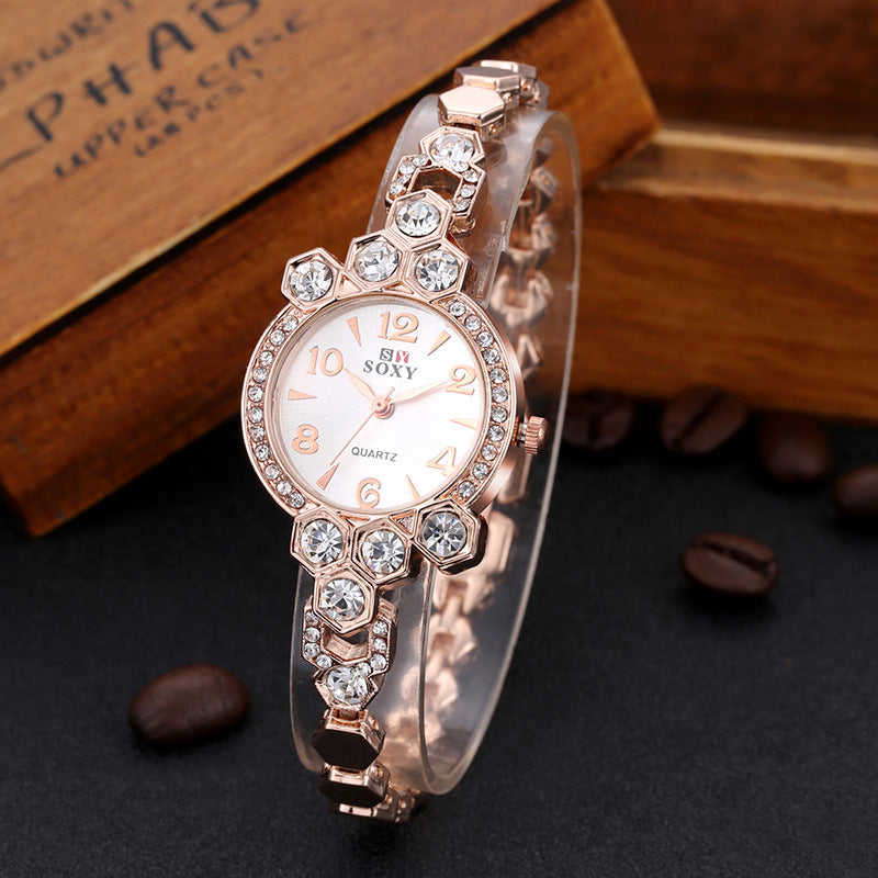Fashion Womens Bracelet Watch Luxury Elegant Steel Strap Quartz Wristwatch