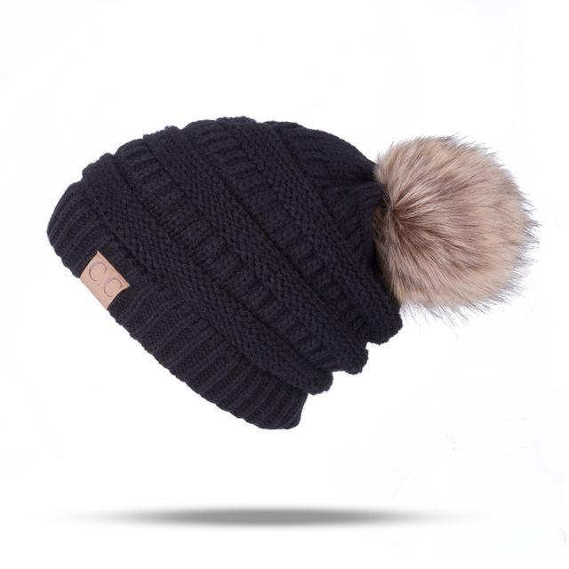DG Winter Fashion Knitting Ponytail Cap Pleated Thick  Skiing Warm Women Knitting Hat