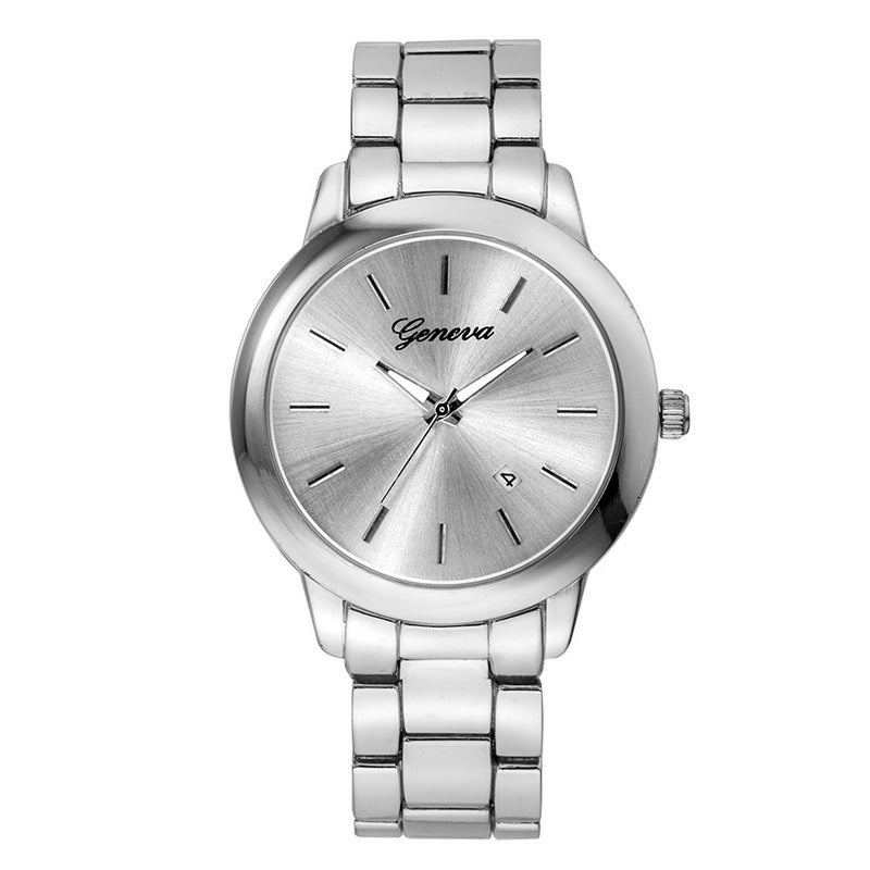 Mens Simple Steel Quartz Wristwatch Couples Casual Watch Womens Calendar Watch