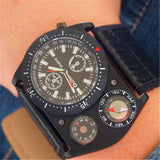 Mens Leather Strap Watches Quartz Military Compass Watch Large Dial Design Wristwatch for Male