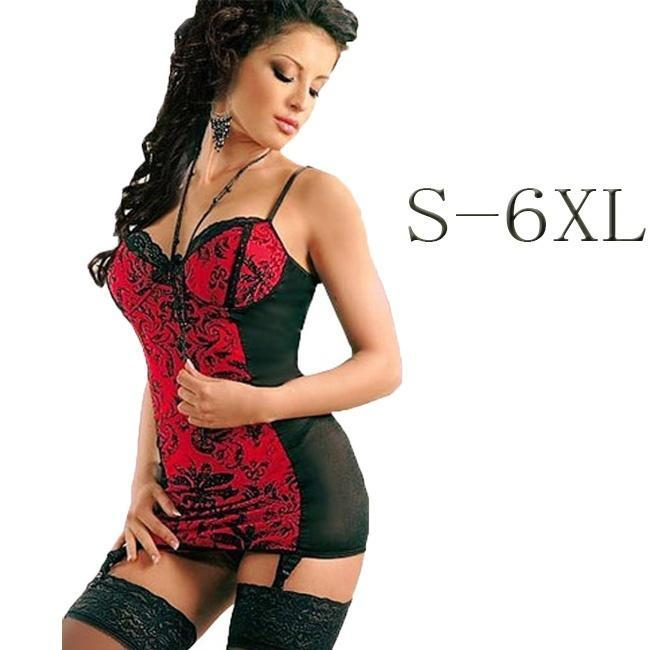 Women Sexy Red Corset Lingerie Nightwear Sleepwear Babydoll Pajamas Plus Size S-6Xl