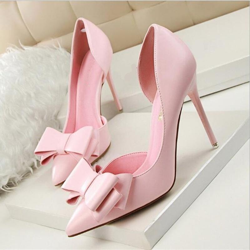 Women Pumps Sweet Bowknot Thin High Heel Hollow Pointed Stiletto Elegan ShoesWomen Shoes