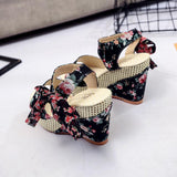 Women Summer Sweet Buckle Open Toe Wedge Shoes Floral High-heeled Platform Sandals