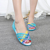 Flat Bottom Hole Shoes Beach Jelly Sandals Student Simple Rainbow Plastic Sandals Female SummerWomen Shoes