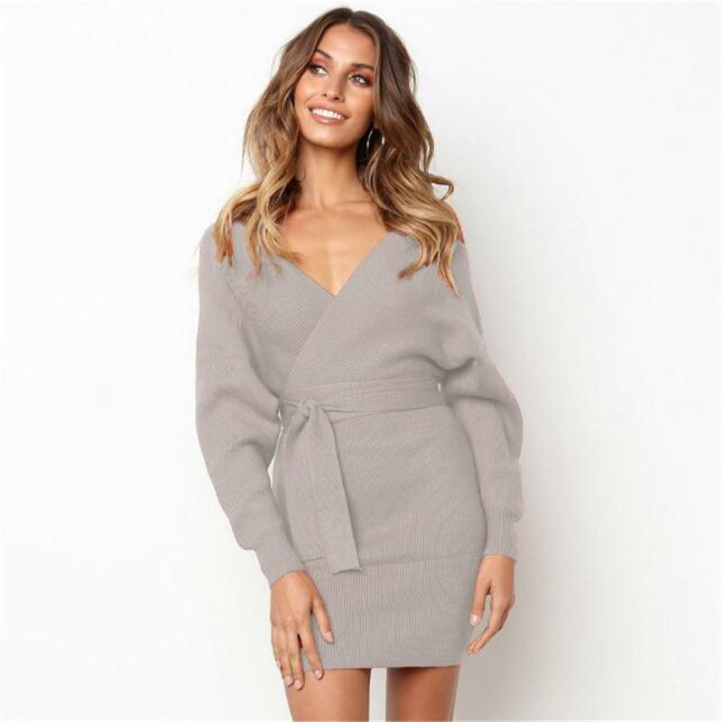 Women Fashion Dress Sexy V-neck Puff Sleeve Tied Waist Solid Color Backless Hip Package Dress