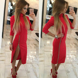 Women Turtleneck Slim Long Sleeve Dress