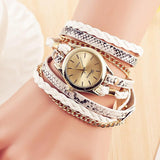 Women Fashion Gold Chain Wrap Leather Bracelet Watch Trend Lady Quartz Watch