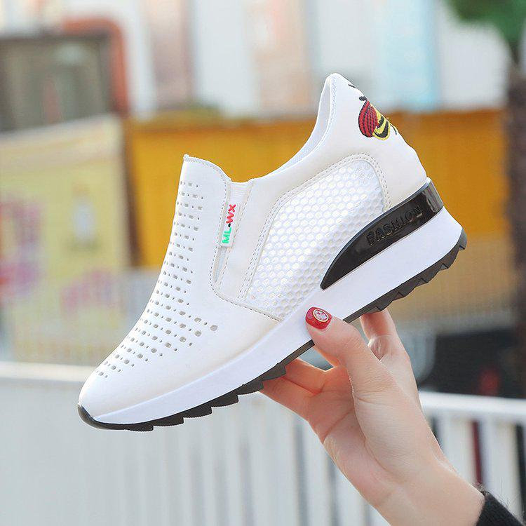 White Shoes Female Net Increase In Casual Shoes Breathable Hollow Lazy Shoes