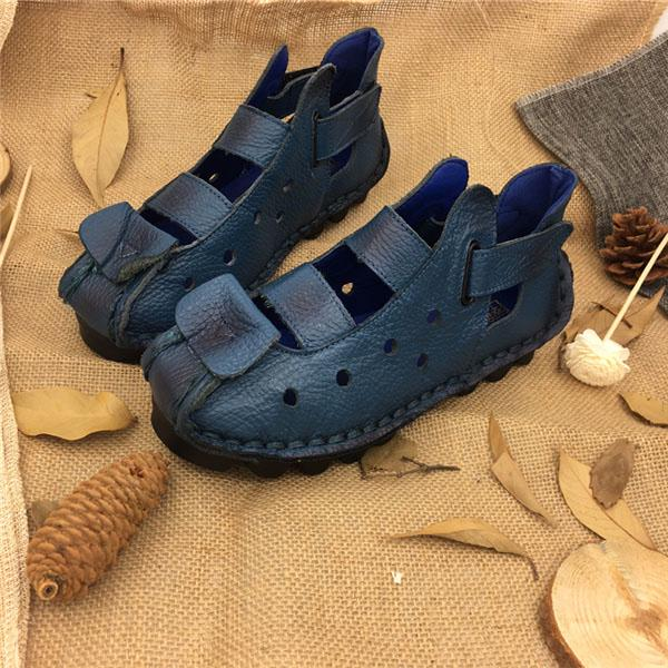 Summer Soft Bottom Flat Genuine Leather Women Shoes  Leisure Women Sandals Retro Handmade SapatoWomen Shoes