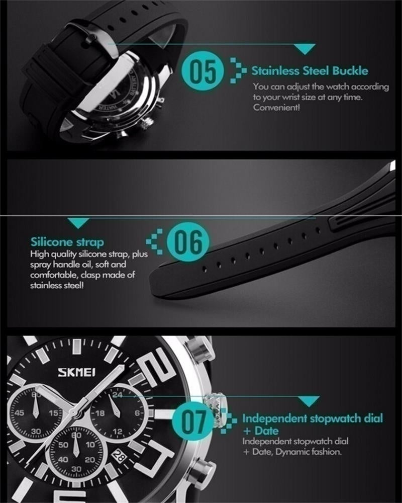 SKMEI Men Quartz Wristwatches Fashion Sport Stop Watch Auto Date 30M Waterproof Clocks Male Brand Wa