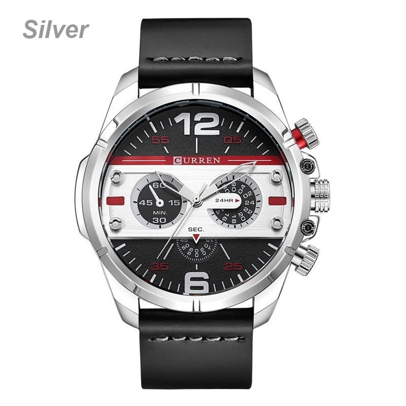 Fashion Watch for Men Casual Sports Waterproof Leather Large Dial Analog Quartz Men Wristwatch