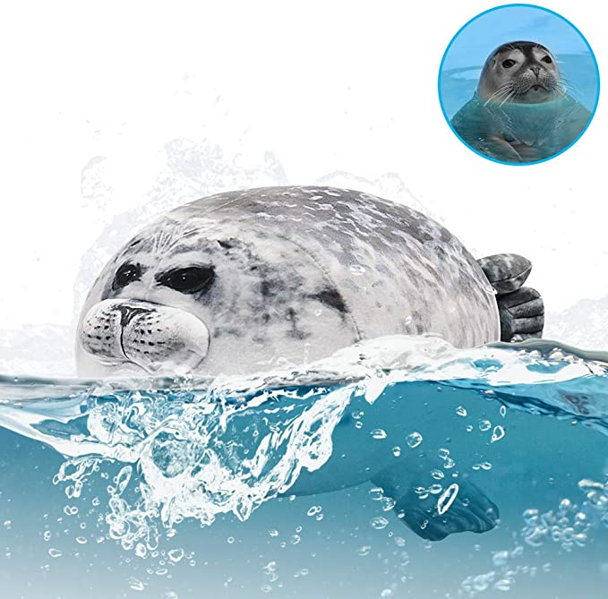 Angry Blob Seal Pillow Chubby 3D Novelty Sea Lion Doll Plush Stuffed Toy Baby Sleeping Throw Pillow Gifts for Kids Girls