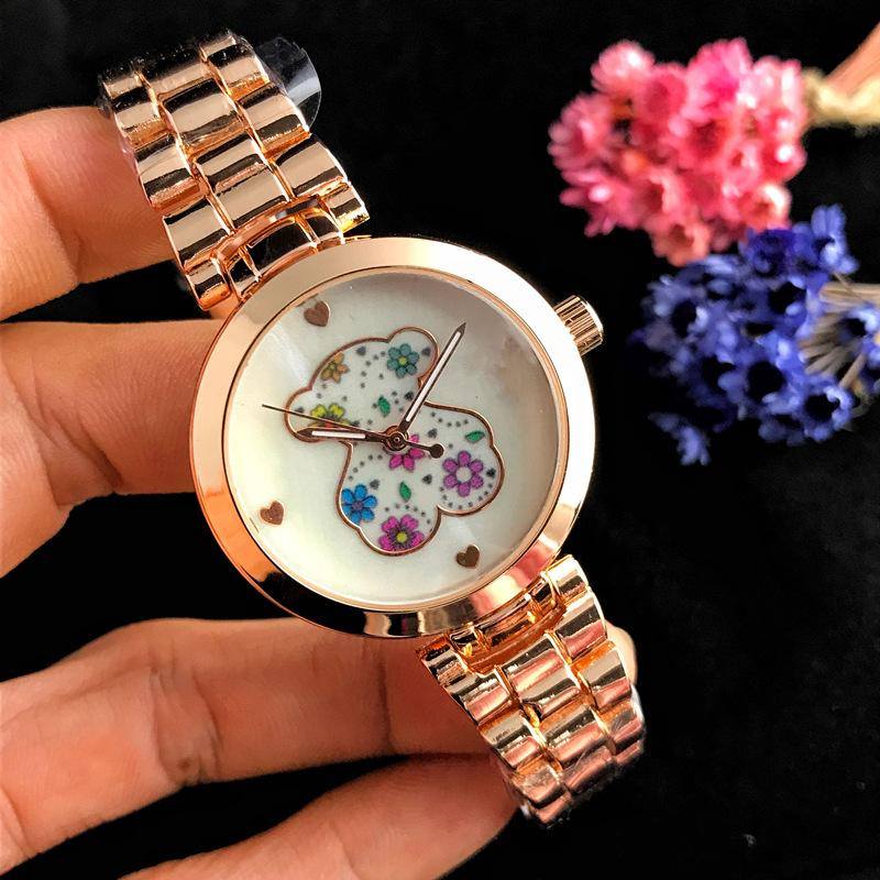 Womens Quartz Watch Small Bear Colorful Peach Heart Scale Dial Alloy Strap Wrist Watches