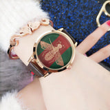 Womens Fashion Quartz Honey Bee Watch Genuine Leather Strap Waterproof Casual Wrist Watches