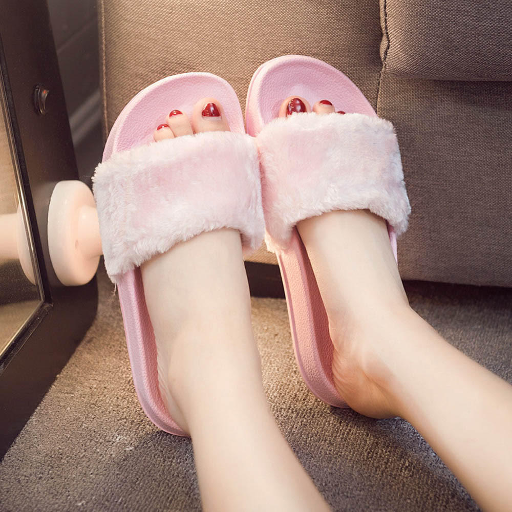 Womens Ladies Slip On Sliders Fluffy Faux Fur Flat Slipper Flip Flop  SandalWomen Shoes