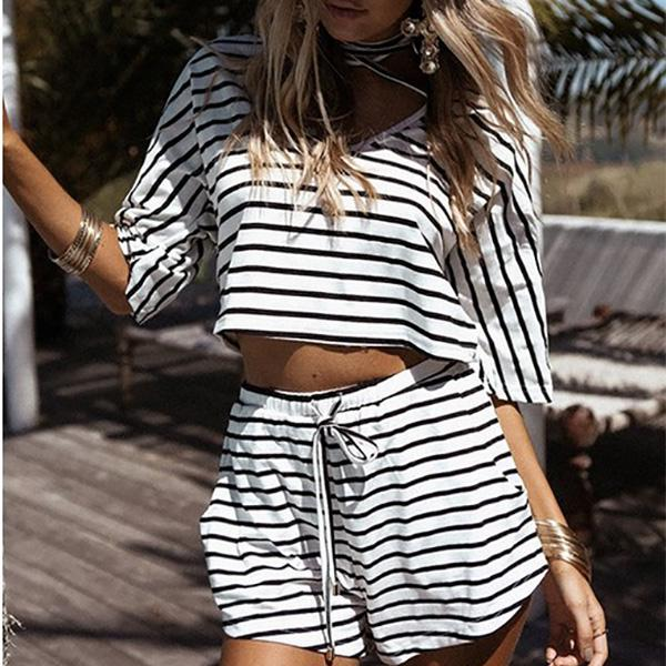 2 PCS Women Fashion V Neck Sexy Black White Striped Cotton Suit Women's Cloth
