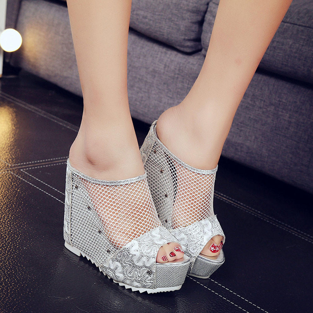 Women Hollow Wedge High Heel Shoes Ladies Summer SandalsWomen Shoes