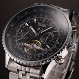 JARAGAR Luxury Watch Men Day Month Tourbillon Mechanical Watches Stell Mens Watch Wristwatch