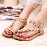 Women Bohemia Herringbone Flower Sandals Casual Thong Clip Toe Flats ShoesWomen Shoes