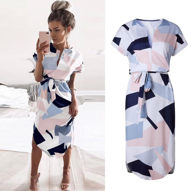 Women Short Sleeve Irregular Printed Dress Formal Casual Cocktail Party Dress