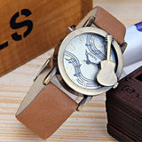 Vintage Style Guitar Note Unisex Watch Leather Strap Quartz Fashion Casual Wrist Watches