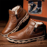 Men Fashion British Martin Boots Winter Warm Wool Side Zipper Leather Shoes Mens Waterproof Flats Shoes