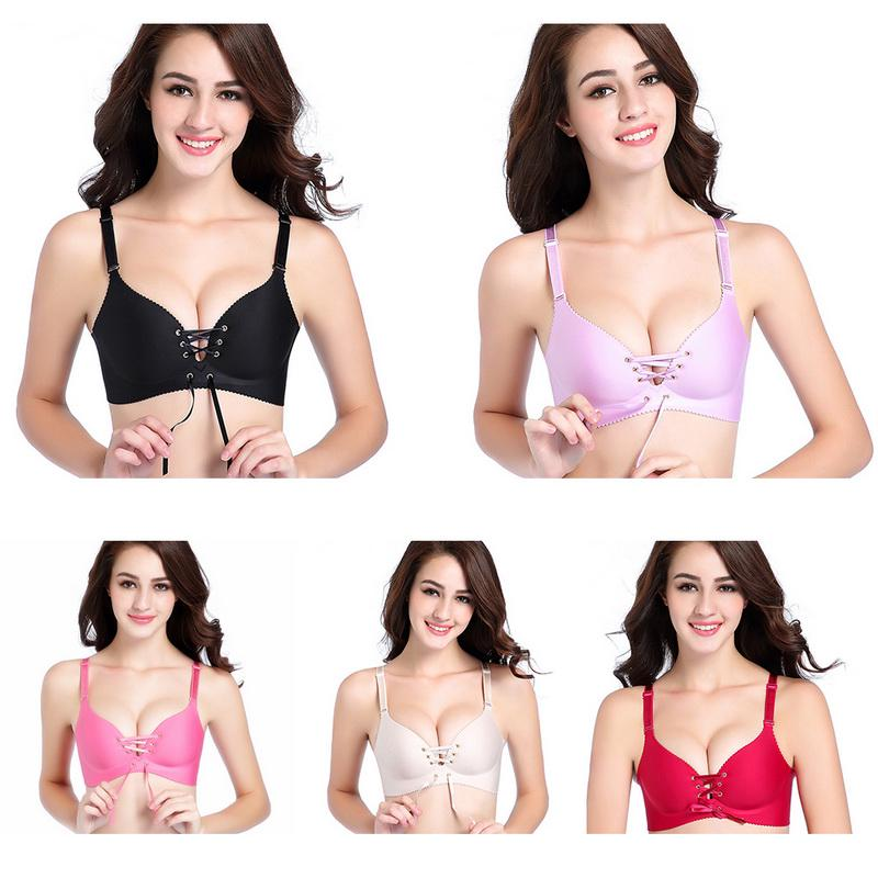 Women Seamless Adjustable Push Up Underwear Front Bandage Bras