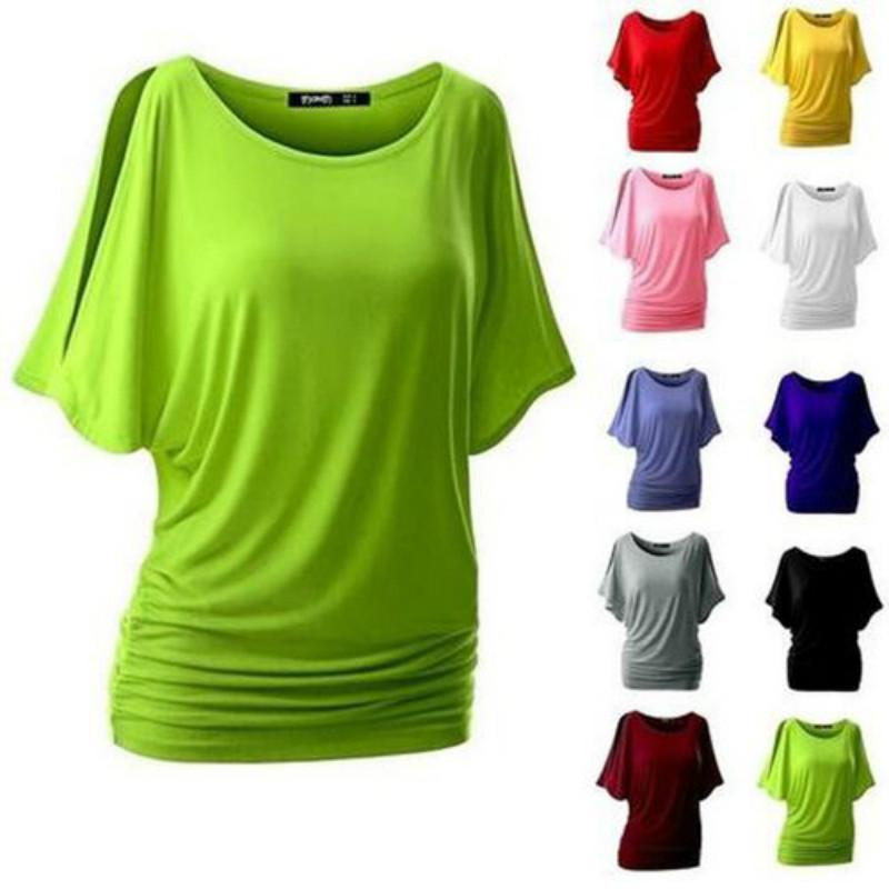 Women's Casual Bat Short Sleeve T-shirt Pullover Tops