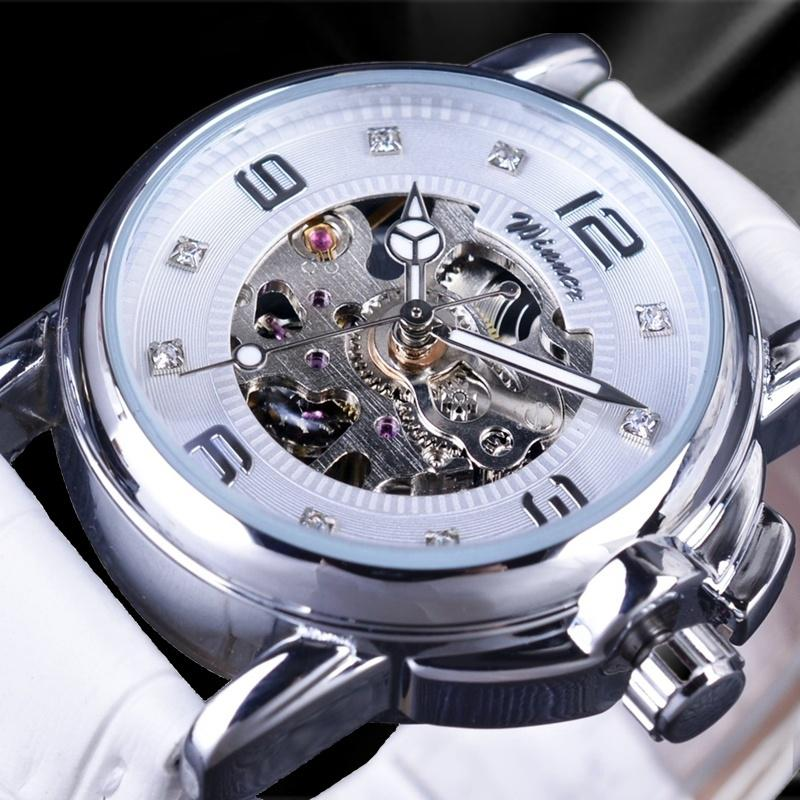 Ladies Watches Delicate Display Elegant White Skeleton Transparent Case Automatic Mechanical Watch