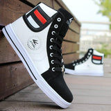 Men Fashion College Style High Top Lace Up Flat Canvas Sneaker