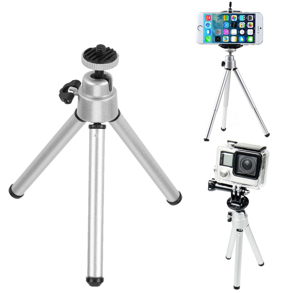 Universal Table Desk Tripod Mini Portable Aluminum Alloy Tripod Camera Stand Accessory for GoPro Cam Mobile Phone