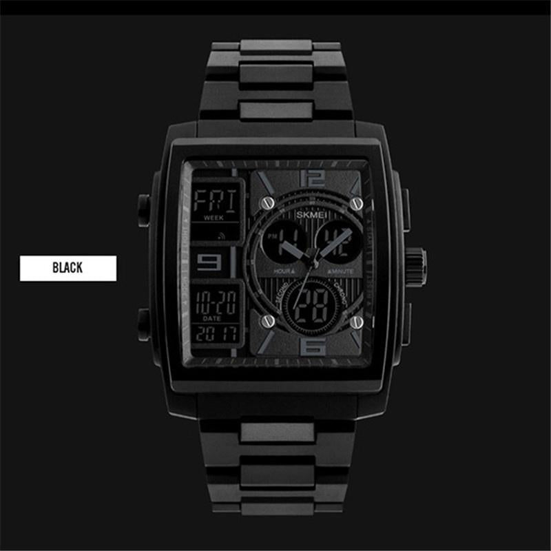 Mens Fashion Wrist Watch Quartz Stopwatch 3 Time Zone Waterproof Watch