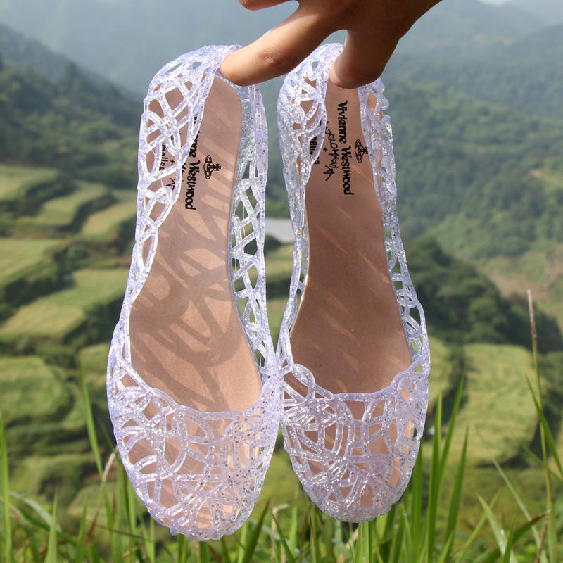 Fashion Crystal Plastic Breathable Flat Women's SandalsWomen Shoes