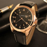 Men Leather Strap Business Wristwatches Casual Roman Numerals Quartz Watch