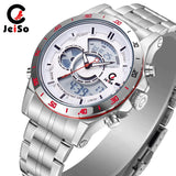 Quartz Multifunction Sports Alloy Watch Waterproof Dual Display Movement Steel Strap Mens Watch