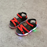 Summer children shoes boys sandals LED shoes girls beach shoes hollow breathable soft bottom