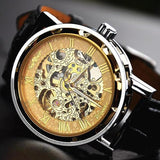 Winner Classic Mens Black Leather Skeleton Mechanical Sports Army Wrist Watch
