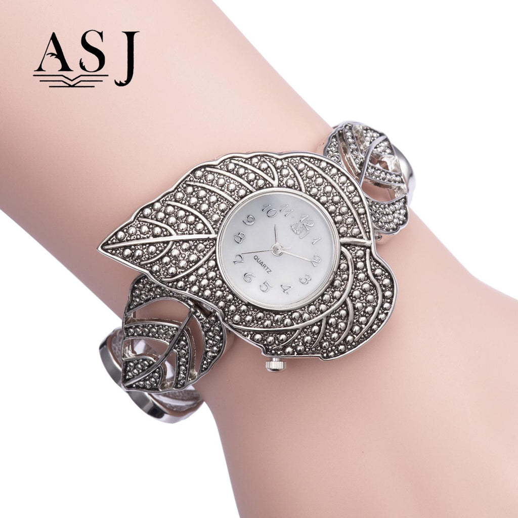 ASJ Leaf-like Waterproof Quartz Titanium Silver Watch for Foreign Trade Direct Sale