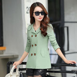 Women Autumn Double Breasted Solid Long Sleeve Casual Coat Winter New Ladies Fashion