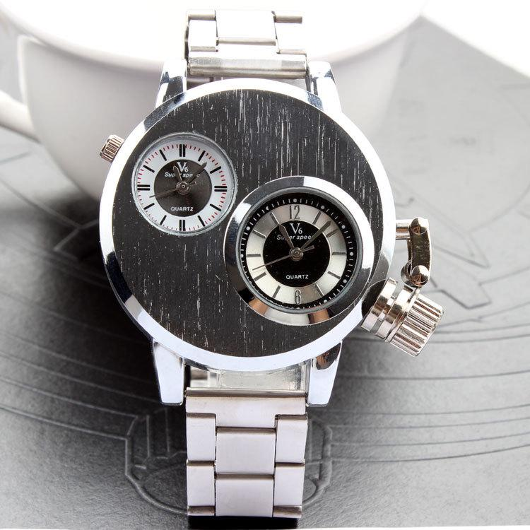 Silver Double-core dial Metal Sports Men and Women's Leather Watches