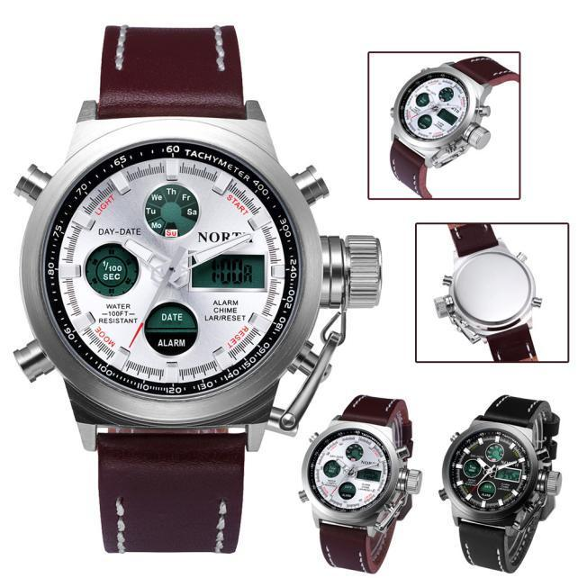 Double Movement Mechanical Military Alarm Clock Quartz Wrist Watch Leather Sports Watch