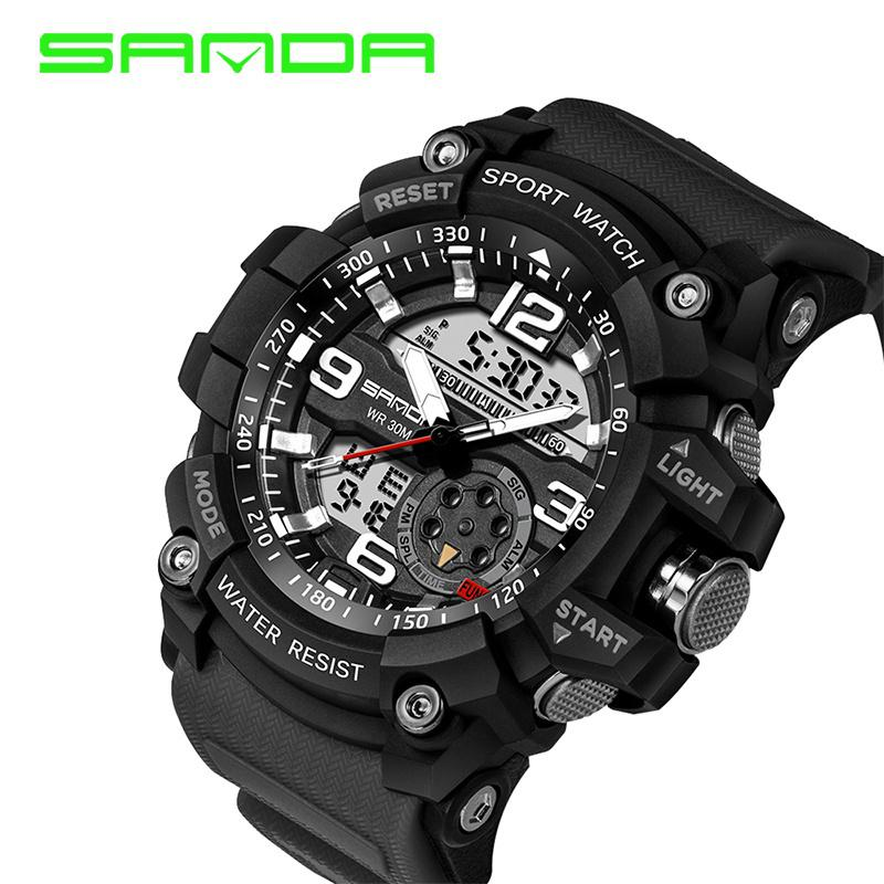 SANDA Army Military Casual Fashion Watch Men Waterproof Sport Digital Watch for Mens Watchese