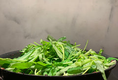 Add kangkong last to stir fries. It cooks down quickly.