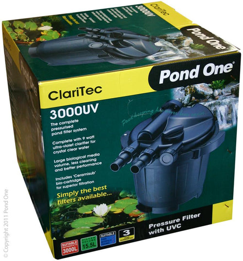 Pond One ClariTec 3000UV Pressurised Filter with 9watt ultra violet clarifier