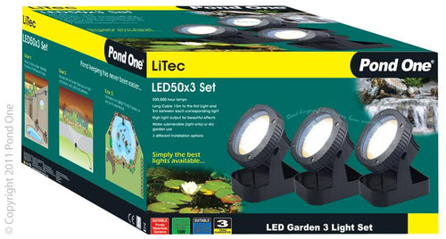 Pond One Litec LED 50x3 Garden Light Set Triple & Transformer